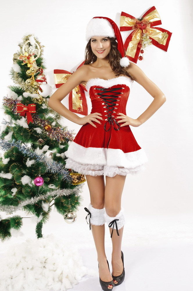 1565d32aa37 Red Santa Christmas Costume Lingerie Faux Fur Bow Dress One Size 7199