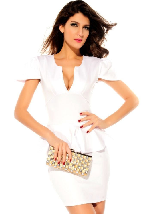 White Dress Peplum Cocktail Cap Sleeves