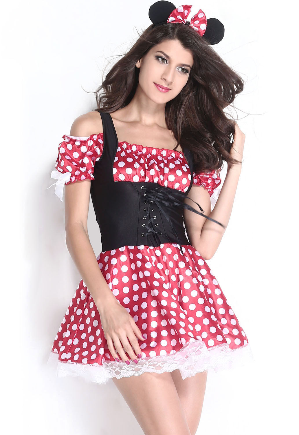minnie mouse red white polka dot corset dress halloween costume 8829