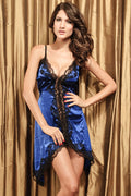 Blue Satin Black Lace Babydoll Lingerie 2540