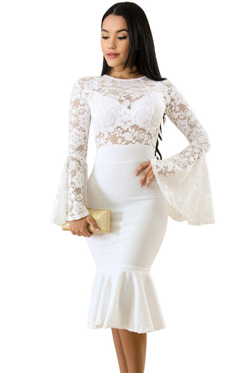 White Lace Bell Sleeve Mermaid Dress