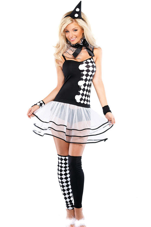 Harley Quinn Clown Sexy Adult Black and White Halloween Cosplay Costume 8802