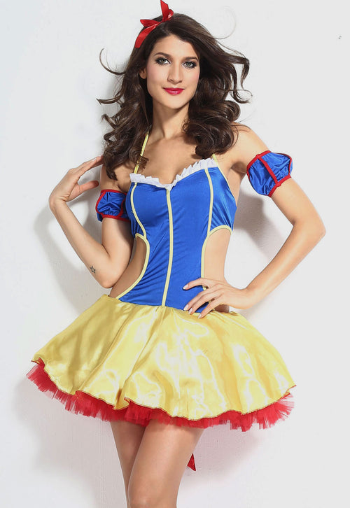 Snow White Fantasy Mini Dress Sexy Cutouts Halloween Costume Cosplay 8810