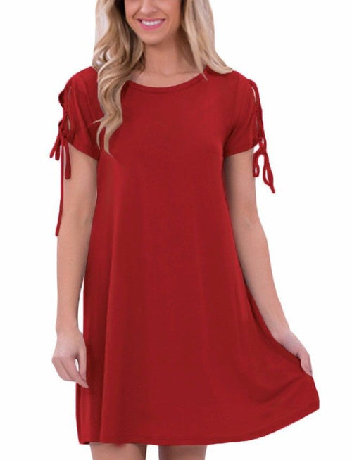 Red Scoop Neck Valentine Stretch Tunic Strappy Short Sleeve Casual Dress 22990