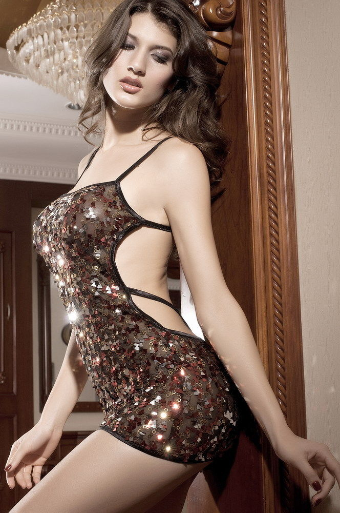 Black Gold Red Sequin Mini Dress Open Back Party Dress Club Dancer One Size 2199