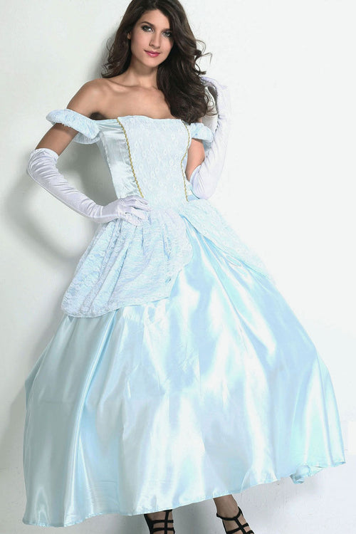 Cinderella Ball Gown Lace Satin Disney Princess Halloween Costume One Size 8852