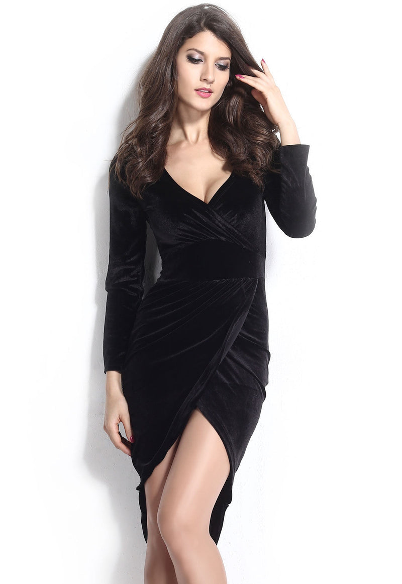 Black Velvet Dress Bodycon Wrap Long Sleeve Stretch V Neck Luxury One Size 21669