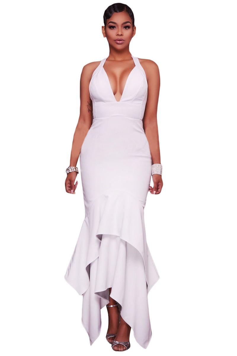 White Cross Back Asymmetrical Hemline Maxi Dress Formal Bridal Medium 61524