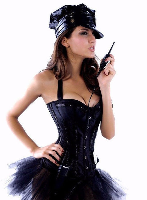 Black Corset Tutu Police Officer Cop Costume Halloween Plus Size XL 8515