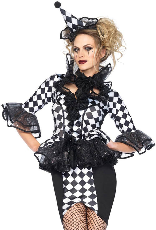 Pretty Pirouette Clown Black and White Halloween Costume
