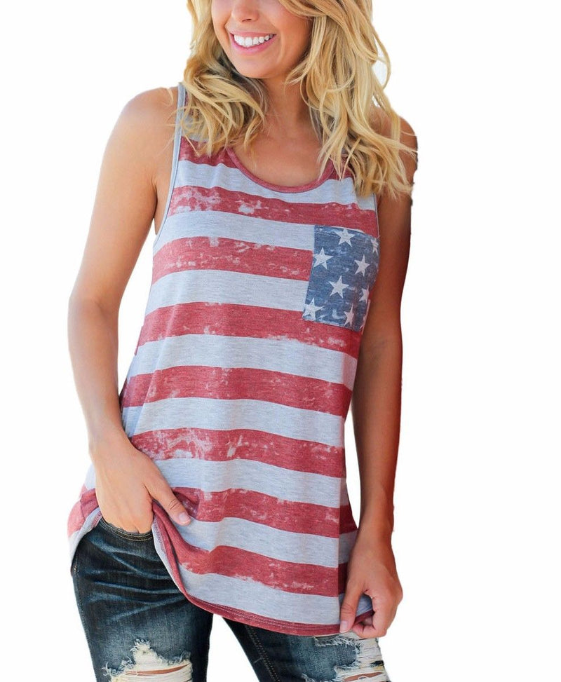 American Flag Grey Red Stripe Graphic Blue Bow Racer Back Tunic Tank Top