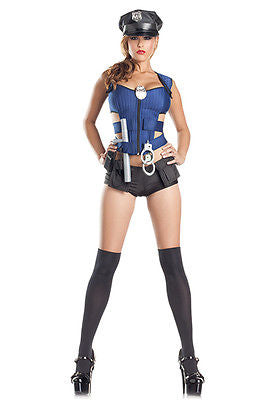 SWAT Police Officer Cop Booty Shorts 8 Piece Costume Halloween Dress SM 1281