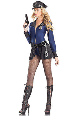 Blue Police Officer Cop Bodysuit Leotard 8 Piece Costume Halloween Dress SM 1096
