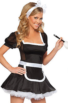 French Maid Black Mesh White Lace Up Sexy Adult Costume Halloween 8363 One Size