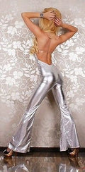 Metallic Silver Futuristic One Piece Flare Open Back Catsuit Cut Out 9101