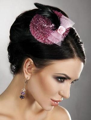 Pink Fascinator Sequin Black Hair Accessory Dress Up Role Play Fashion 70397