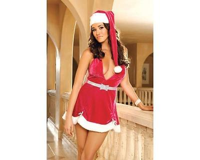 4c6c8174d2f Hot Pink Mrs Claus Velvet Halter Holiday Dress Sexy Christmas Lingerie L  8418