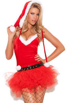 Red Christmas Santa Sweetie Costume Lingerie Tutu Holiday Party One Size 7235