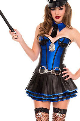 Blue Police Officer Cop Corset Tutu Roleplay Costume Halloween Dress 8720