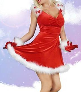Red Velvet Santa Pinup Fur Vintage Dress Festive Holiday Costume Medium 0001