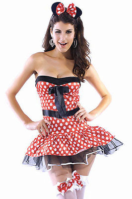 Minnie Mouse Strapless Dress Halloween Costume Polka Dot Satin Bow One Size 8302