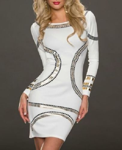 White Dress Mini Wear Gold Metallic Long Sleeved Bodycon Clubwear One Size 21589