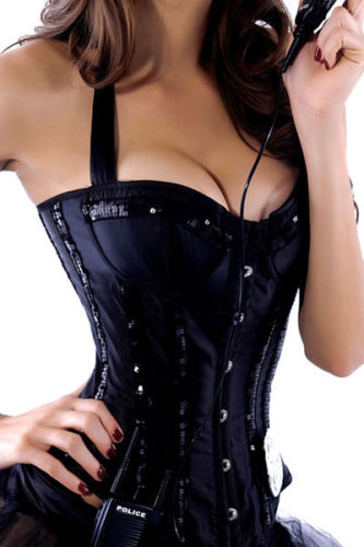 Black Corset Bustier Lingerie Satin Sequin Holiday Halloween Cop