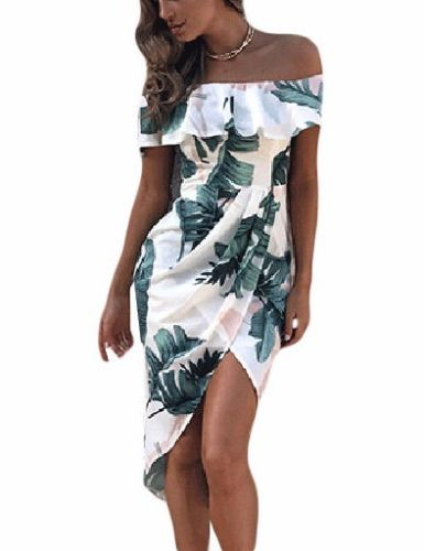 Palm Leaf Tropical Off the Shoulder Ruffle Sleeve Draped Mini Dress 61572 L