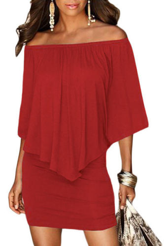 Red Mini Dress Ruffle Layer Top Oversized