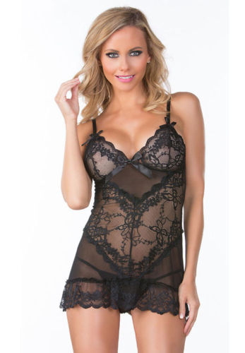 Black Chemise Lingerie Lace Sheer Satin Bow Ruffle Trim Mesh