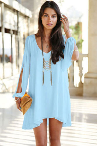 Baby Blue Dress Long Sleeves Semi Sheer Cocktail Sundress