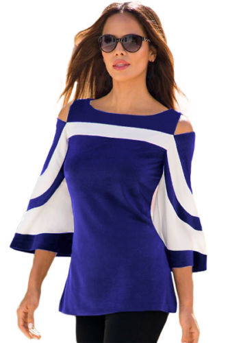 Blue White Colorblock Top Bell Sleeve