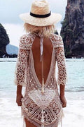 White Crochet Cover up Dress Tunic Swimwear Beachwear Swim Pool 42144 One Size