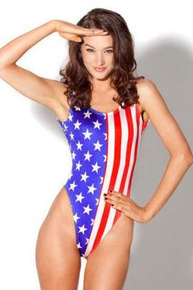 USA Swimsuit Red White Blue One Piece Beachwear Stars Stripes 33069