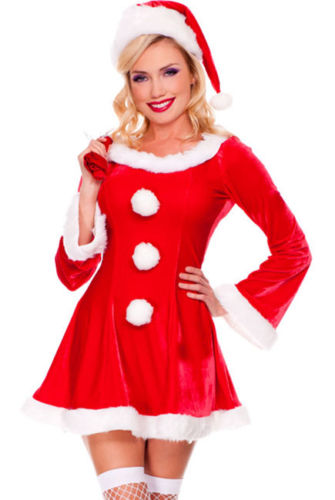 Red Santa Costume White Faux Fur Dress Christmas Holiday Cosplay Medium 7232