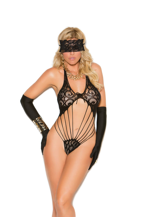 Black Lace Teddy and Matching Eye Mask