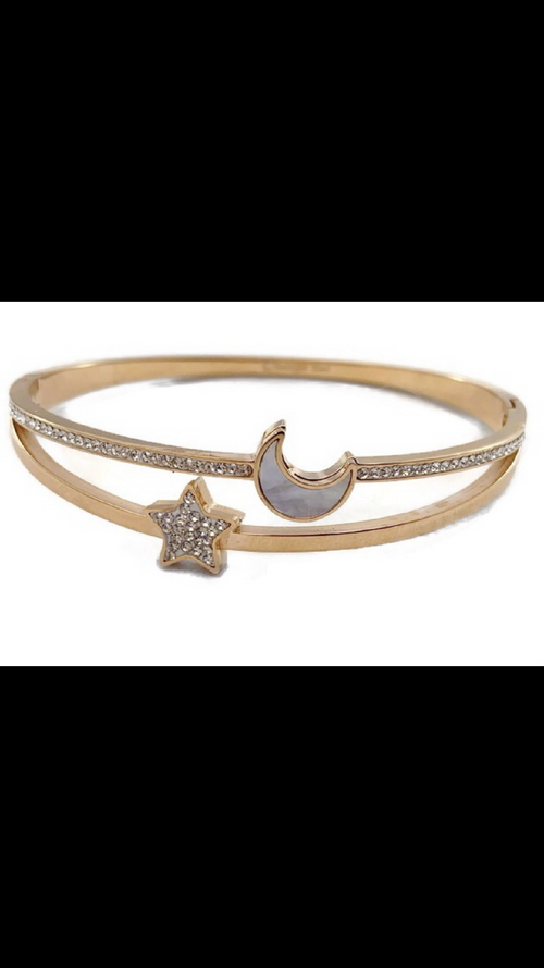 Tiffany Inspired Gold Moon Star Bracelet Stones
