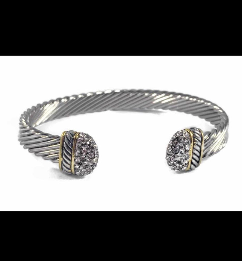 David Yurman Inspired Crossover Cuff White Gold Stones 9MM