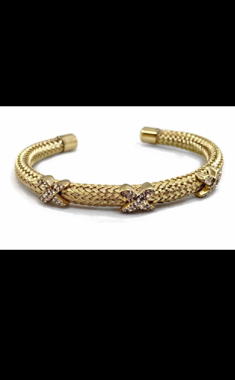 David Yurman Inspired 3X Bracelet With Stones Gold