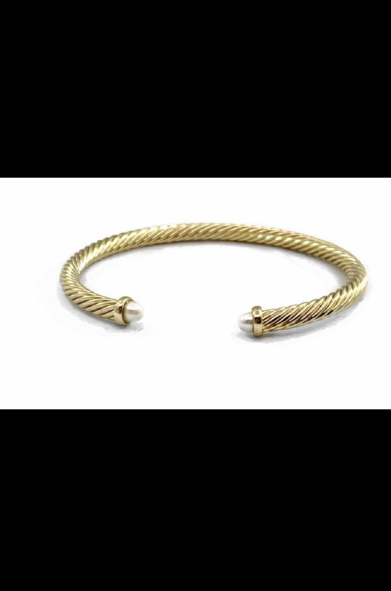 David Yurman Inspired Cable Spira Bracelet Gold With Pearl 3.5MM