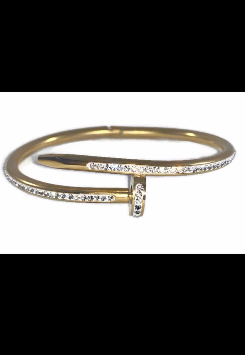 Cartier Inspired Juste Un Clou Nail Bracelet Yellow Gold With Stones