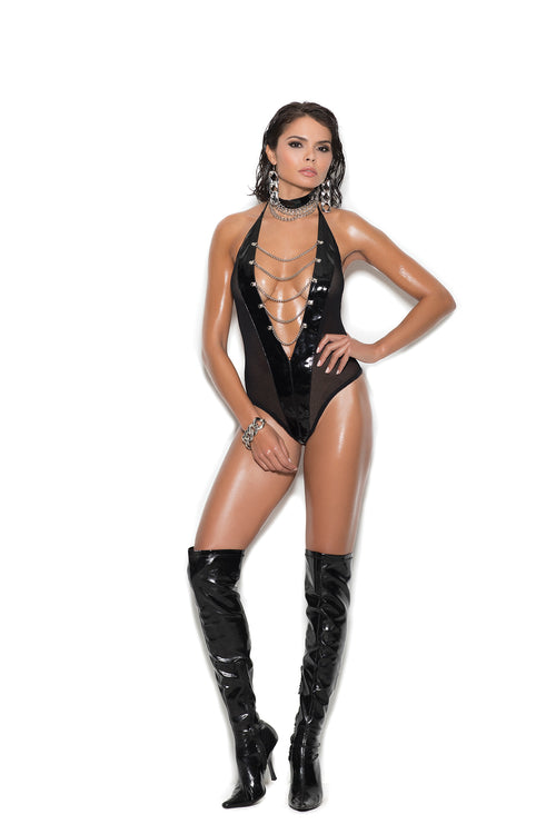 Vinyl and fishnet halter neck teddy