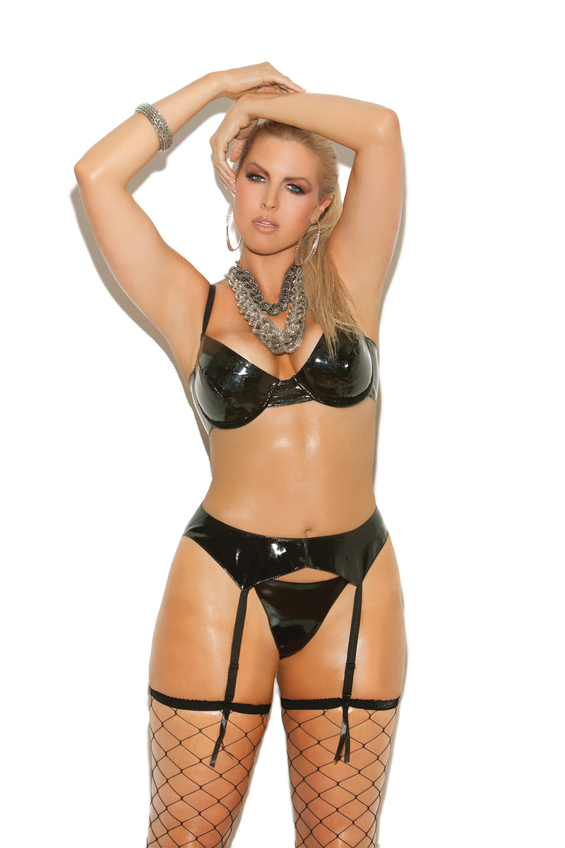 Vinyl underwire bra with adjustable straps