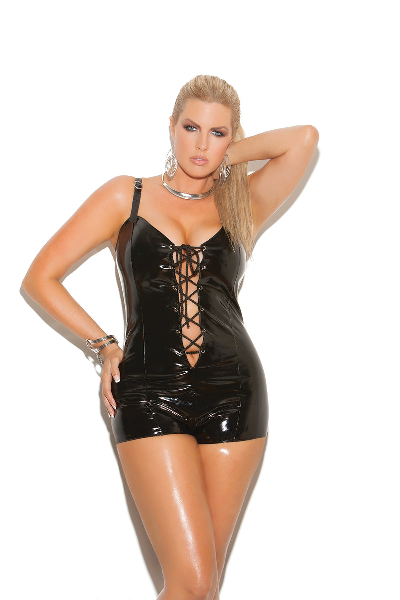 Lace up front vinyl romper with adjustable buckle straps