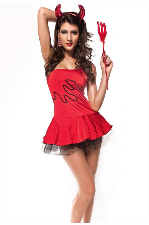 Devil Halloween Costume Dress One Shoulder Stone Devil Accent Sequin OS 8584