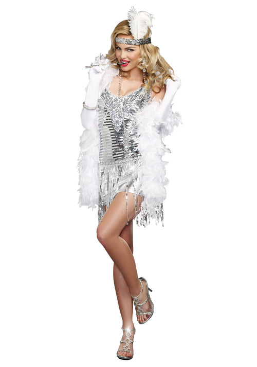 Flapper Halloween Costume Silver Sequins