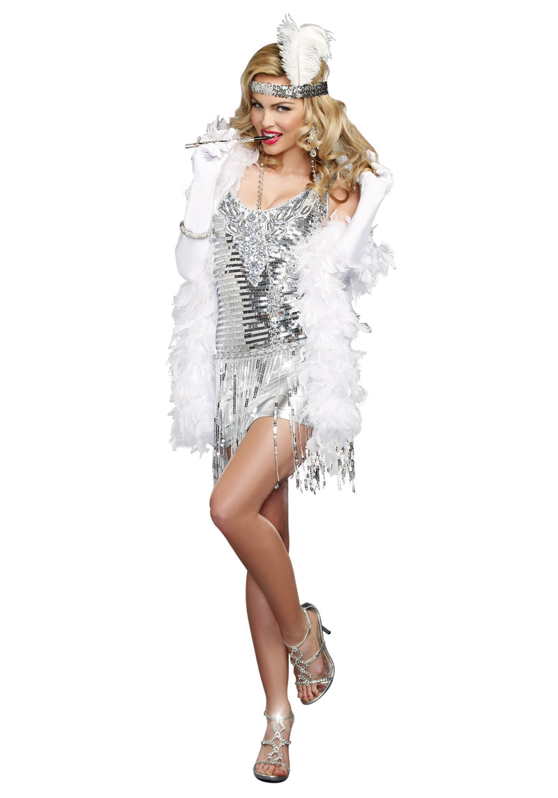 Flapper Halloween Costume Silver Sequins Life Of The Party Decade Small 9458