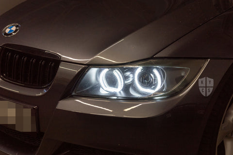E90 Pre LCI, E91 Pre LCI (Halogen) - KYCS Custom Headlights - Fxx Angel Eyes