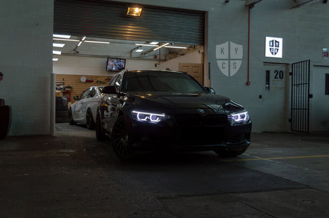 "Select the following options to get the same headlights pictured above: BavGruppe Design 3/4 DTM Angel Eyes (White) | Modern Blackout Paintwork | Bi-LED 2.5"" Projector With LED Bulb 
