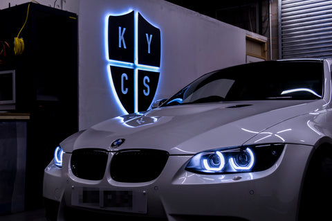 KYCS Gxx Angel Eyes (White) • Classic Blackout • LED Indicators • Indicator Lenses Removed